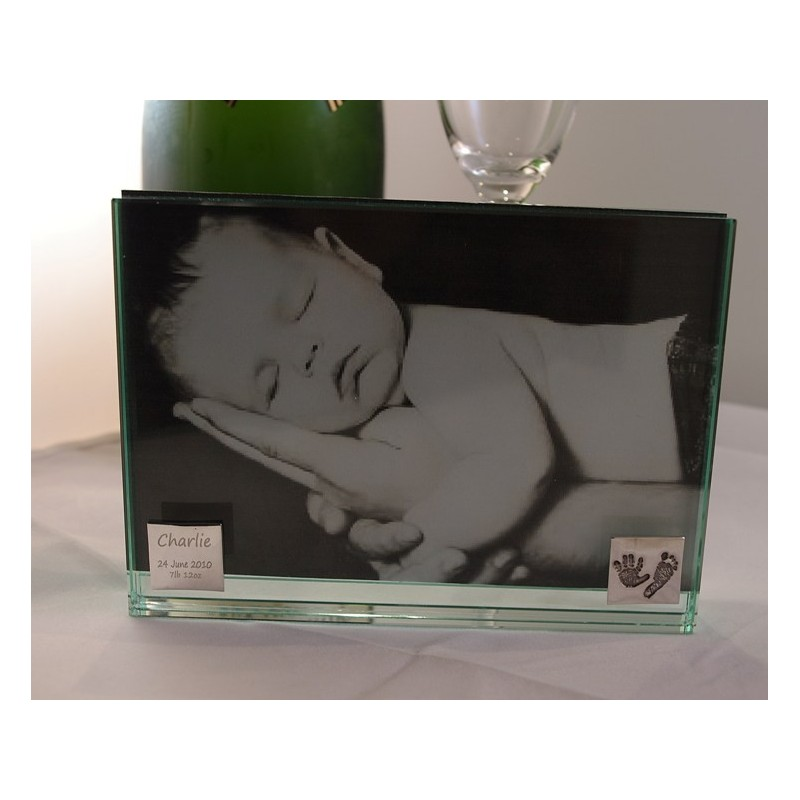 glass photo frame with handprint charm