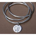 Triple Slave Bangle with Small Charm