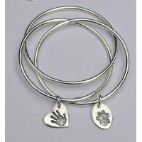 Triple Slave Bangle with Small B2B Charm