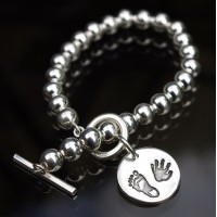 Bead Toggle Bracelet with Large Charm