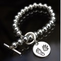 Bead Toggle Bracelet with Round Charm