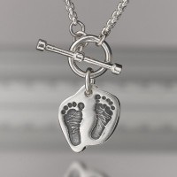 Toggle Necklace with Double Print Contoured Charms