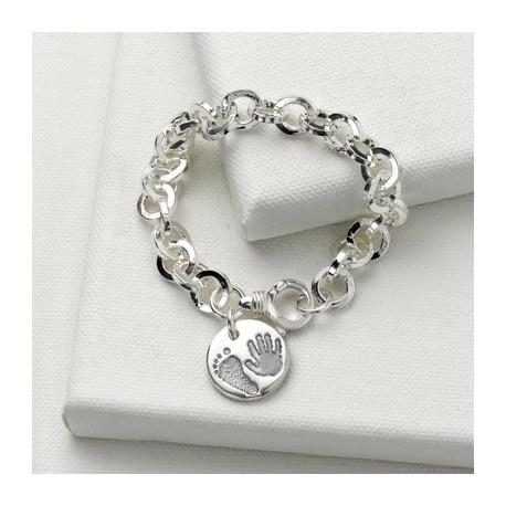 Chunky Round Link Bracelet with Round Charm